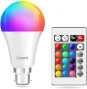 Lepro Colour Changing Light Bulb B22, Dimmable LED Bayonet Bulb, RGB & Warm White, 16 Colours, 9W = 60W, Coloured Room Decorations for Birthday, Party, Home Bar, KTV and More, Remote Control Included