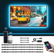 Lepro TV Backlight, LED Strips Lights, Voice Control & APP Control, Compatible with Alexa Google Home for TV, Kitchen, Party, 4Pcs x 0.5m Strip Light & 3Pcs x 4 Pin Connector(2.4GHz Only)