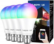 Lepro WiFi Smart Bulbs B22, APP or Voice Control LED Bayonet Bulbs, Compatible with Alexa and Google Home, RGB + Warm to Cool White, Dimmable, 9W = 60W, No Hub Required, Pack of 4 (2.4GHz Only)