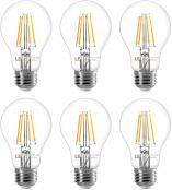 LE E27 Vintage Light Bulbs, 60W Equivalent E27 Bulbs, 7W 806lm Filament LED Bulbs, Warm White 2700K Edison Screw ES Lightbulb, Non-dimmable, Pack of 6