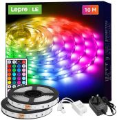 Lepro 10M LED Strip Lights with Remote, 5050 RGB Colour Changing, Plug and Play, Stick-on LED Light for Bedroom, Kitchen, Bar Decoration (2 x 5 Metres)