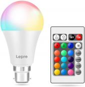 Lepro Colour Changing Light Bulb B22, RGB & Warm White Dimmable LED Bayonet Bulb 9W, 60W Incandescent Bulb Equivalent, Coloured Room Decor for Birthday, Party, Home Bar and More, Remote Included
