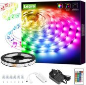 Lepro 5M Music Sync LED Strip Lights, Sensitive Built-in Mic, Colour Changing & Dimmable with Remote, 5050 RGB LED Lights for Bedroom, Party Decoration (5M, Stick-on, Plug-n-Play)