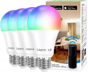 Lepro WiFi Smart Bulbs E27, APP or Voice Control LED Bulbs Screw, Compatible with Alexa and Google Home, RGB + Warm to Cool White, Dimmable, 9W = 60W, No Hub Required, Pack of 4 (2.4GHz Only)