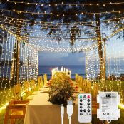 LE Fairy Curtain Lights Battery Operated, USB Powerd Indoor Outdoor Gazebo Lights, 3m x 3m 300 LED Warm White String Lights, Timer, 8 Modes, Remote Control, Suit for Bedroom, Garden, Party and More
