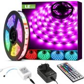 LE 5M RGB LED Strips Lights Kit, 150 SMD 5050 LED Tape, Colour Changing Mood Lighting, Dimmable, Power Supply and Remote Controller Included