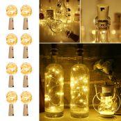 8 Pack LED Bottle Lights with Cork, Win Bottle Lights, Battery Powered, Warm White
