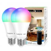 Lepro WiFi Smart Bulbs E27, APP or Voice Control LED Bulbs Screw, Compatible with Alexa and Google Home, RGB + Warm to Cool White, Dimmable, 9W = 60W, No Hub Required (2.4GHz Only)