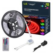 5M RGB LED Strips Lights Kit, 150 SMD 5050 LED Tape, Colour Changing Mood Lighting, Dimmable, Power Supply and Remote Controller Included