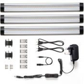 Dimmable Under Cabinet Lighting, Total of 12W, Warm White 24W Fluorescent Tube Equiv. 3 panel deluxe kit, LED Light Bar